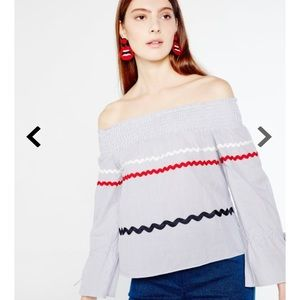 ENGLISH FACTORY off the shoulder pinstripe top